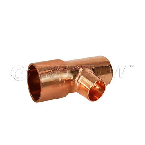 Everflow Supplies CCRT1506 C X C X C Reducing Tee Fitting with Solder Cups for Copper Pipe, 1-1/2'' x 1'' x 1/2'' by Everflow Supplies