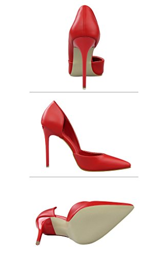 Minetom Mujer Primavera Dulce Clásico Caramelo Colors High Heel Shoes Stiletto Zapatos de Tacón Atractivo Pumps Court Shoes Rojo