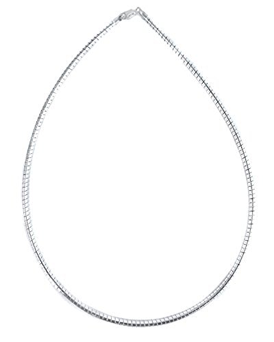 3 Mm Omega Necklace (3mm Round Omega Necklace Italian .925 Sterling Silver Chain. 16,18,20 Inches (20 Inches))