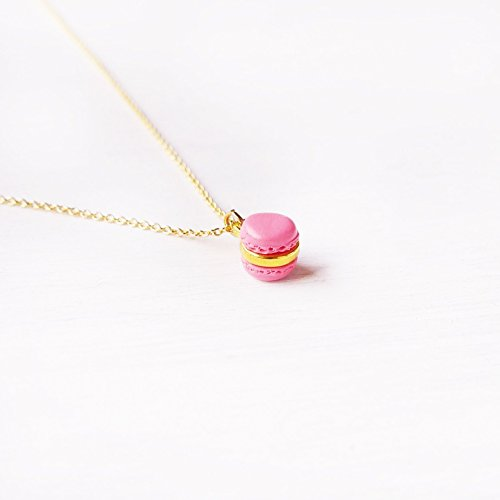Elfi Handmade Cute Mini Pink Macaron Pendant Necklace Miniature Dessert Food Jewelry wedding gift Macaron Charm Lolita Kawaii Best selling, Perfect for Christmas gift
