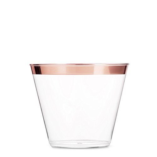 100 Rose Gold Rim Plastic Cups 9 Oz Elegant Clear Plastic Tumbler Cups Disposable for events: Weddings, Parties, Meetings, and Reunions (Rose Gold) -