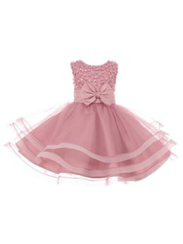 Baby Girls Dusty Rose Pearl Sequin Bow Tapered Easter Flower Girl Dress 12M