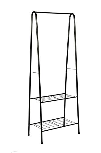MULSH Clothing Garment Rack Coat Organizer Storage Shelving Unit Entryway Storage Shelf 2-Tier Metal Shelf in Black, 24.0
