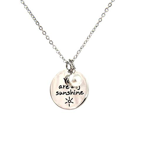 Pophylis Stainless Steel Pearl Pendant - Engraved Disc Necklace You are My Sunshine Graduation Gift