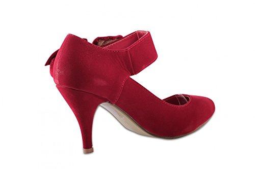 Elegante Damenschuhe Pumps Abendschuhe Partyschuhe mit Schleife und Riemen Red
