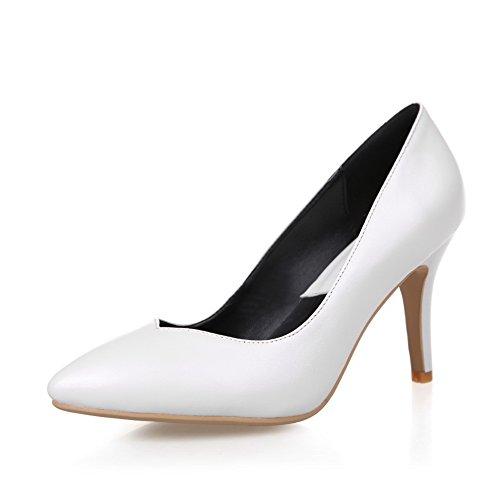 Korkokengät Pehmeä Valkoinen Huomautti Amoonyfashion Toe Pull vankkaan Materiaali Suljetun kengät Naisten Pumput Yww5OqZ