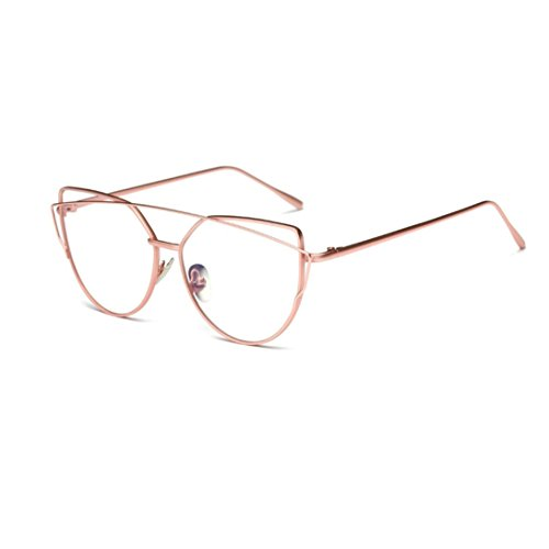 VIASA Women Fashion Twin-Beams Classic Metal Frame Mirror Sunglasses (Pink, - Online Sunglass