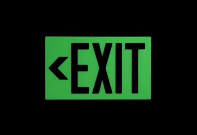 """Safe Glow Photoluminescent Exit Sign, """"EXIT"""" with Left Arrow Symbol, 14-5/8"""" Length x 9-1/2"""" Width x 1/4 """" Height, Ceiling Mount (Pack of 1)"""