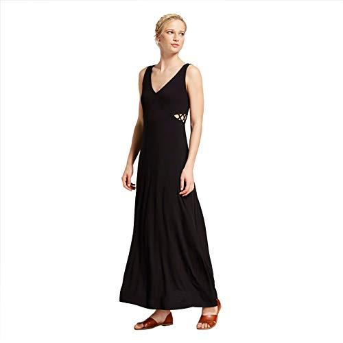 (Xhilaration Women's Sleeveless Windowpane Side V-Neck Knit Maxi Dress Black XS)