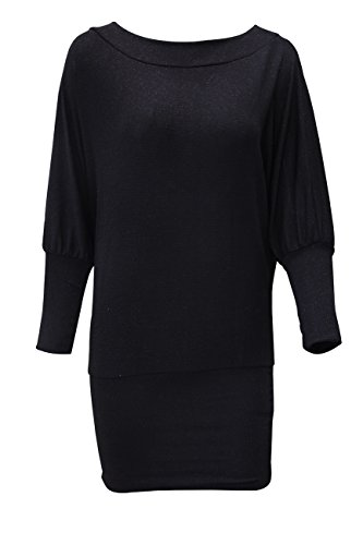 Glitter Batwing Neck Short Round Dress Sleeves Long Top Shirt Fitting Black Women Y6BwEqU