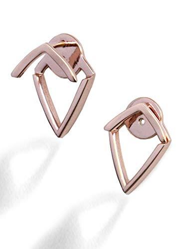 (TRILL EAR JACKET EARRINGS For Women | 18K Rose Gold Vermeil | Diamond Wishbone Studs | 2 Way Convertible | Hypoallergenic | 925 Sterling Silver base | Women Jewelry | Birthday Wedding Bridesmaid gifts)