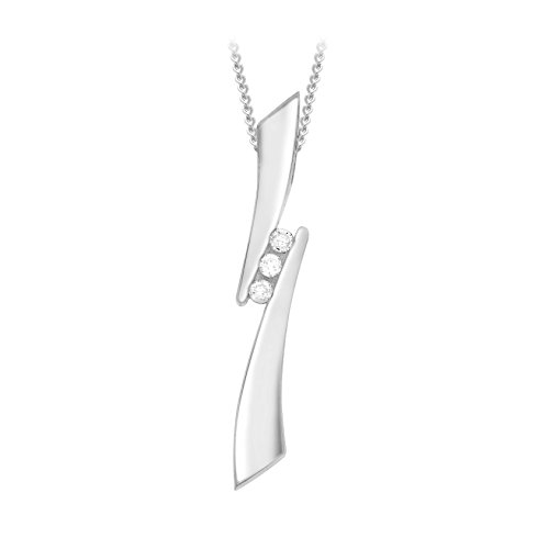 Carissima Gold - Collier avec pendentif - Femme - Or blanc (9 cts) 2.03 Gr - Diamant