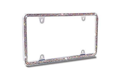 JR2 500 Super Bling Glass Crystals Chrome Metal License Plate Frame+Free Caps (Aurora)