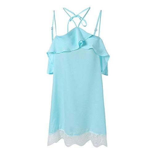 Sólidos De Verano Splice Mujer Azul Mini Pijamas Elegante Princess Mangas Encaje Vestido Sin Spaghetti Colores Camisón Ropa Moda Dormir Exquisit Off Shoulder EwqqgXIT