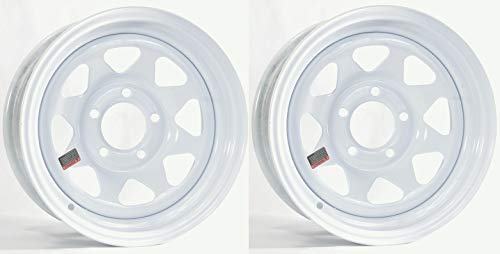 (2-Pack Trailer Rim Wheel 14x6 5 Lug Bolt Hole 4.5 in. Center White Steel Spoke )