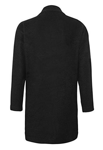 Abrigo Abierto Negro en Mujer Suave de Tela Sweat Sublevel Abrigo Elegante zxnRTwqFf