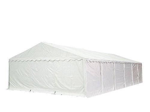 Feuersicheres Lagerzelt mit Bodenrahmen und Dachverstärkung 6x12 m, hochwertige 500g/m² PVC Plane feuersicher nach DIN in weiß, 100% wasserdicht, vollverzinkte Stahlkonstruktion