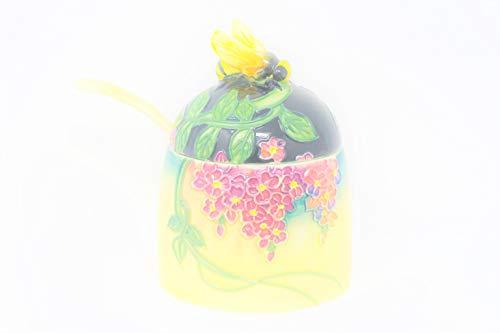 (Old Tupton Ware Honey Pot Jam Jar 1357 Wisteria Preserves Sauce Matching Spoon)