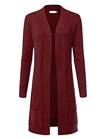 ARC Studio Women's Solid Soft Stretch Longline Long Sleeve Open Front Cardigan S Burgundy