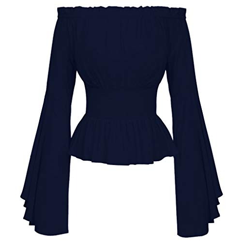 Flare Top Blouse - Blouses for Women, Off The Shoulder Retro Vintage Slash Neck Solid Flare Sleeve Asymmetric Shirt Casual Loose Tops Blouse Navy