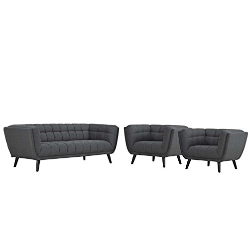 Modway Bestow 3 Piece Upholstered Fabric Sofa and Armchair Set, Two, Gray