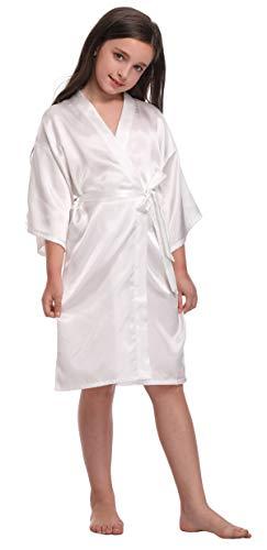Flower Girl Satin Kimono Robes Basic Style Bathrobes for Wedding Spa Birthday,Pure White,6 ()