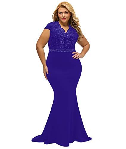 LALAGEN Women's Short Sleeve Rhinestone Plus Size Long Cocktail Evening Dress Royal Purple XXL