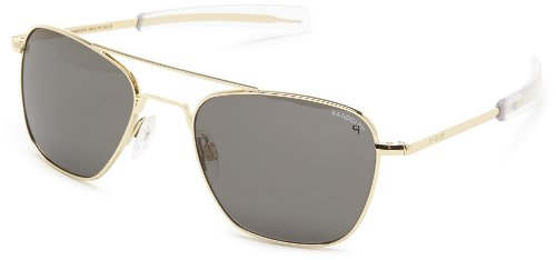 Randolph Aviator Polarized Sunglasses,23K Gold Plated/Grey 52 - Plated Sunglasses Gold Aviator
