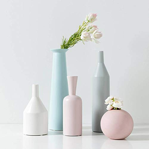 FCQ Nordic Ceramic Crafts Vase Coffee Table Dining Table Decoration Cabinet Decoration Artwork Morandi Vase Floral, Decoration, Combination Five ()