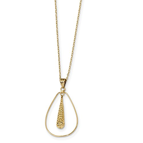 ICE CARATS 14k Yellow Gold Tear Drop Dangle Chain Necklace Fancy