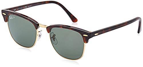 RAY-BAN RB3016 Clubmaster Square Sunglasses, Red Havana/Polarized Green, 51 mm (Rayban Square Sunglasses Men)