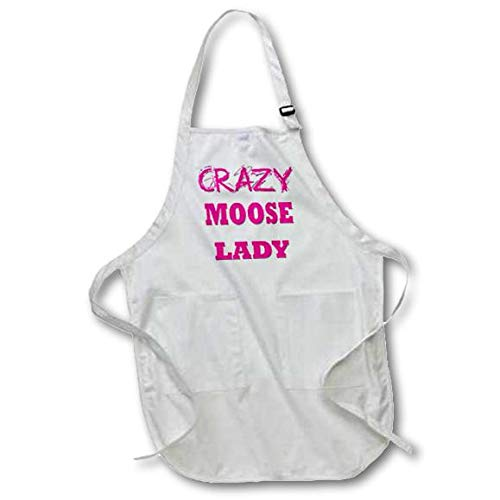 3dRose Crazy Moose Lady - Full Length Apron, 22 by 30-Inch, White, with Pockets (apr_175194_1) ()