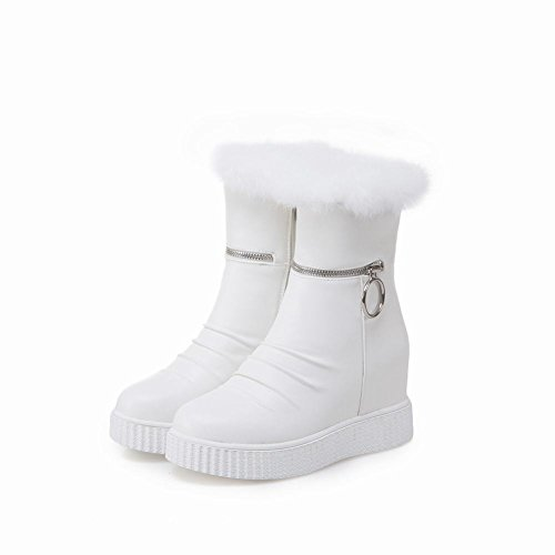 Carolbar Womens Zip Faux Fur Warm Platform Wedges Shearling Snow Boots White Ii5sbINkL
