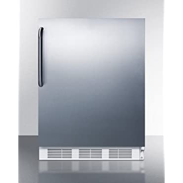 Summit CT661BISSTBADA 24 ADA Compliant Undercounter Refrigerator with 5.1 cu. ft. Capacity Cycle Defrost Zero Degree Freezer and Stainless Steel Door/White Cabinet/Towel Bar
