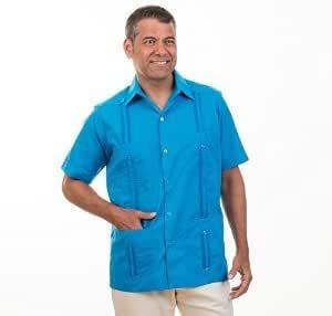 Basic Tradicional Mezcla de algodón Camisa de la Guayabera Cubano.