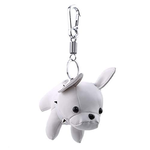 LJSLYJ PU Leather Animal Dog Pendant Keychain Holder Charm Accessories,White