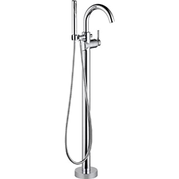 bathtub faucet free standing brushed nickel delta fl floor mount tub filler chrome freestanding without hand shower