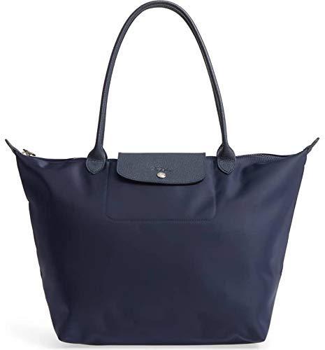 LongChamp Women's Navy Blue Marine Large Le Pliage Nylong Tote Handbag (Longchamp Tote Navy)