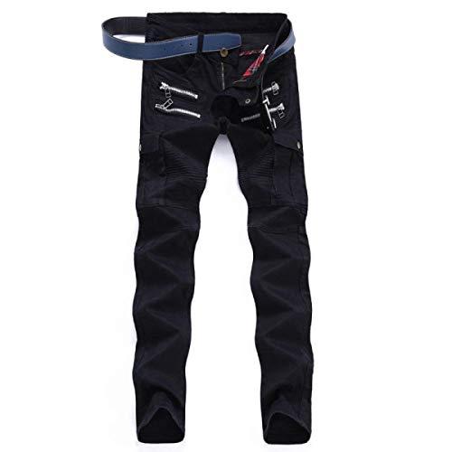 Vintage Nero Uomo Senza Da Pantaloni Elasticizzati A Jeans Bassa Vita Casual Fit Dritti Slim Cinturino Jeggings BxwIxq4