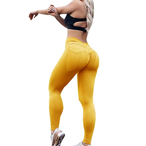 Yyicool Womens Sexy High Waist Pockets Pleated Fitness Slim Ruched Leggings Casual Push Up Hips Workout Jogger Skinny Yoga Pants (Yellow, L) ()