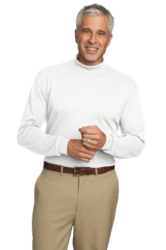 Port Authority Interlock Knit Mock Turtleneck, L, - Turtleneck Authority Knit Interlock Port
