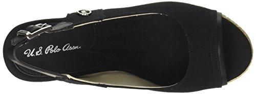 Toe Uspolo Lino Women's Sandali Topazia Assn Uspolo Donne Black black Assn Sandals Toe Di Linen Open Colore Delle Topazia Nero blk Open Blk p7Afp0Wn