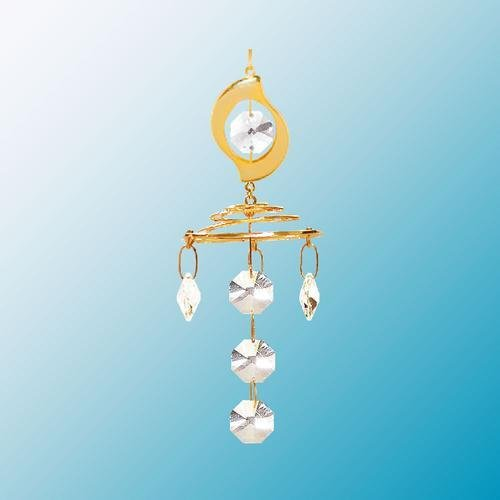 24K Gold Plated Hanging Sun Catcher or Ornament..... Leaf Topper with Clear Swarovski Austrian Crystal ()