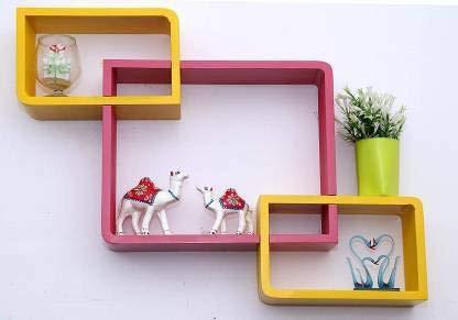 onlinecraft Wooden Wall Shelf 3 pc Attach  2746 Pink,Yellow