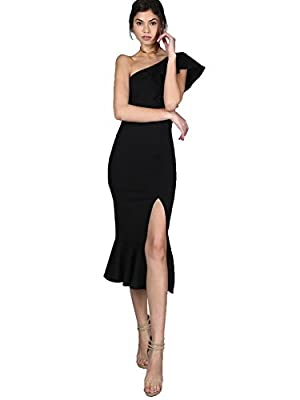 Floerns Women's Ruffle One Shoulder Split Midi Party Bodycon Dress