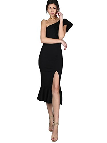 Floerns Women's Ruffle One Shoulder Split Midi Party Bodycon Dress Black M