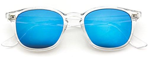 WearMe Pro - Mirrored Lens Square Rectangular Modern Sunglasses Men - Clear Frame Men Sunglasses