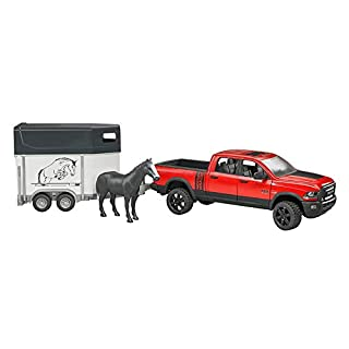 Bruder Ram 2500 Power Pick Up W Horse Trailer & Horse Vehicle