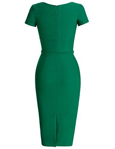MUXXN 1950s Retro Cuello Redondo Corta Mangas Vestido Lápiz Verde