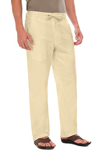 Janmid Men Casual Beach Trousers Linen Summer Pants Beige XL